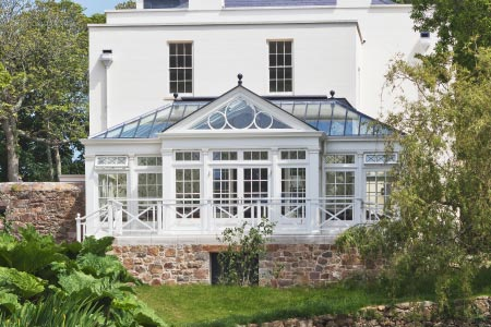 South facing conservatory on a Georgian mansion in the Channel Islands
