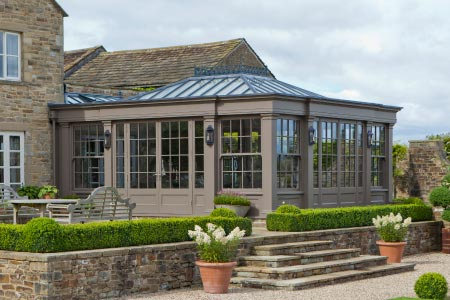 Beautiful orangery addition blends seamlessly with this traditional Yorkshire hunting lodge