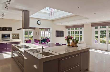 Modern Conservatory Kitchen With Rooflight In Buckinghamshire.