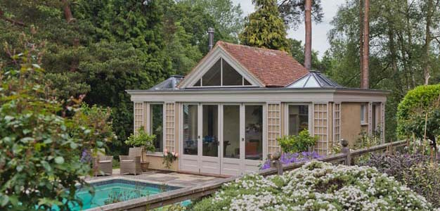 Pool House With Glazed Rooflights In West Sussex.