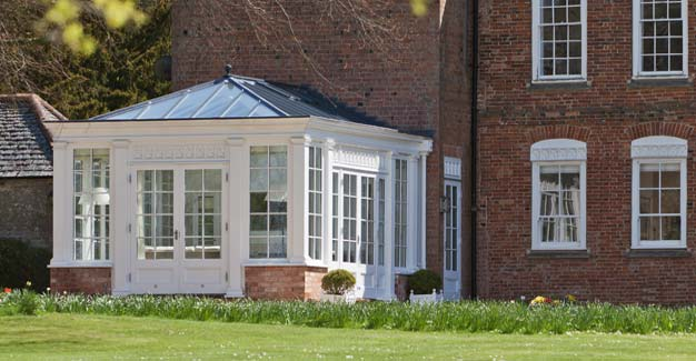 Georgian Conservatory With A Hipped Leaded Roof In Leicestershire.