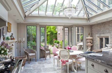Kitchen Conservatory With Bronze Casement Window and Doors In Somerset.