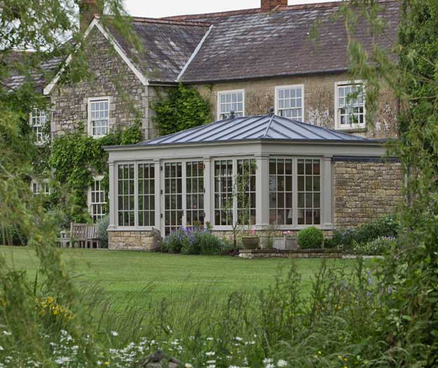 Traditional Conservatory In Dorset With Leaded Roof.