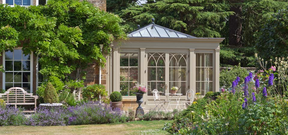 Conservatories By Vale Garden Houses Featuring Gothic Arched Window Design.