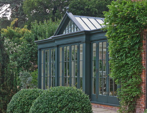 Dark Green Bespoke Georgian Orangery In Cheshire.