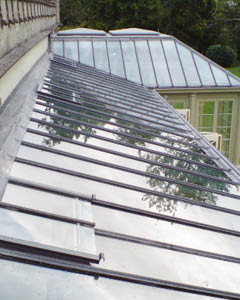 Lean-to roof of a bespoke conservatory