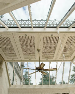 Decorative lattice ceiling conceals the ventilation