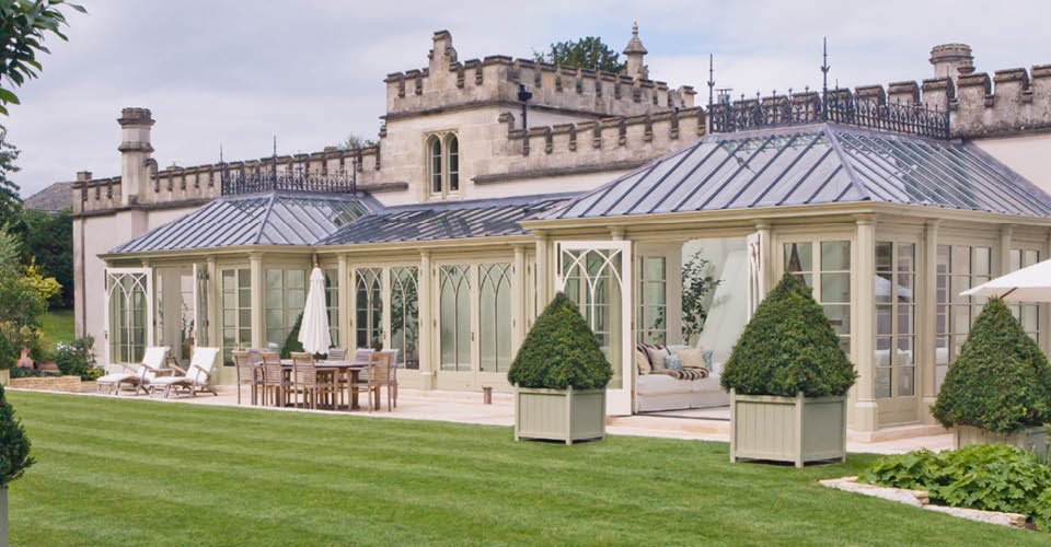 Large victorian gothic conservatory in wiltshire provides for Gothic greenhouse plans