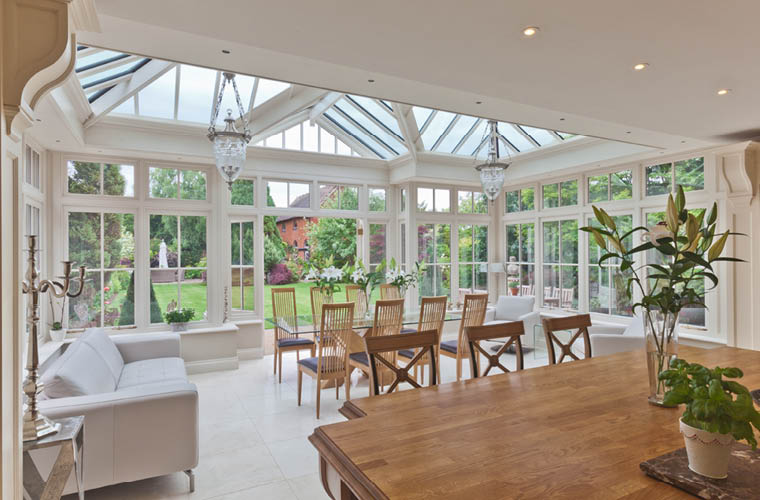 Open plan kitchen conservatory extends an Edwardian Warwickshire ...
