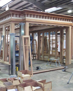 Orangery being constructed in the factory