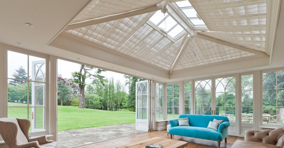 orangery with open folding doors