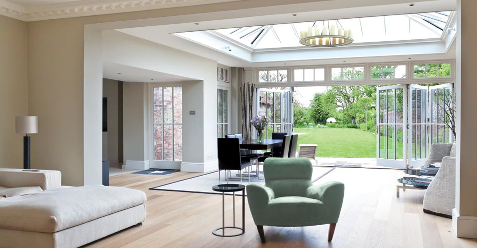 contemporary bespoke orangery with bifolding doors