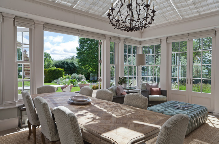 interior view of orangery looking out to the garden