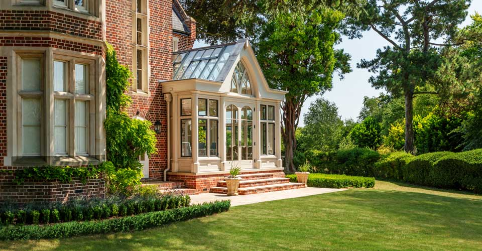 Large conservatory with bronze windows