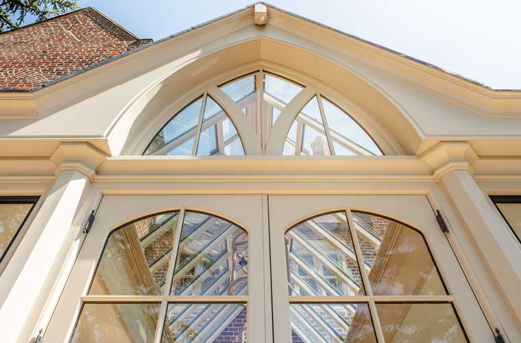 A decorative gable end of a large bespoke orangery