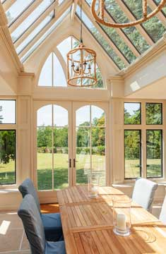 internal view of large bespoke orangery