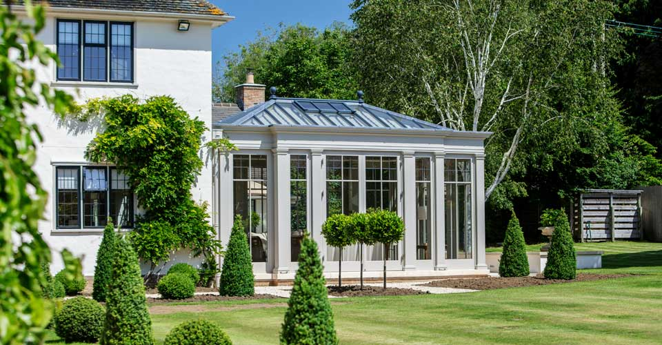 Bespoke orangery with full length glazed panels