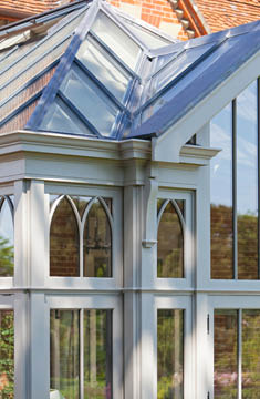 Gothic Arched Windows In A Traditional Victorian Conservatory.