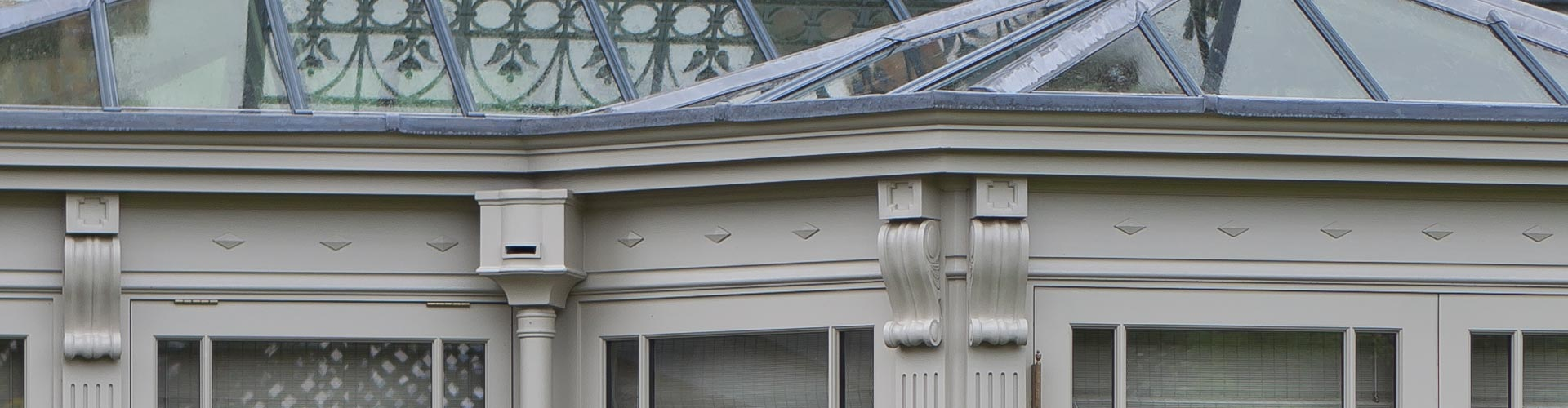 Close up of a bespoke conservatory showing design detail and proportions