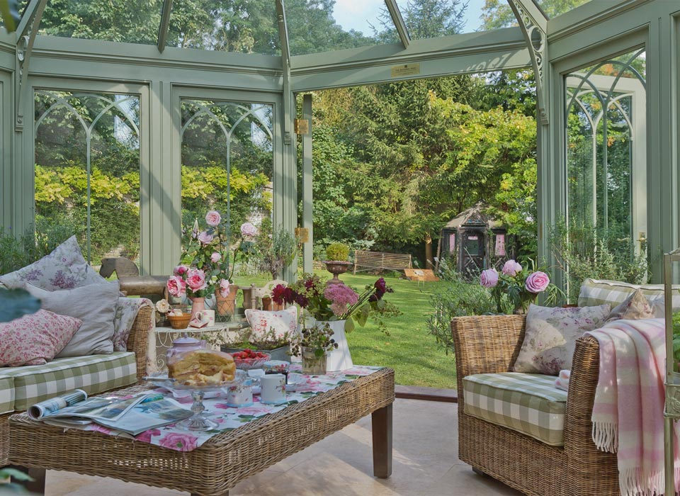 Interior view of a homely Cragside conservatory