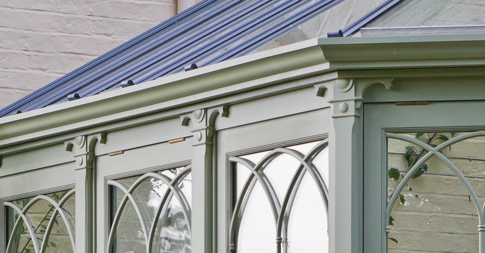 Close-up showing exquisite detailing on a Cragside conservatory