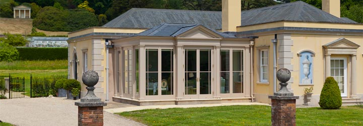 Traditional design conservatory with lead roof to match the main house.