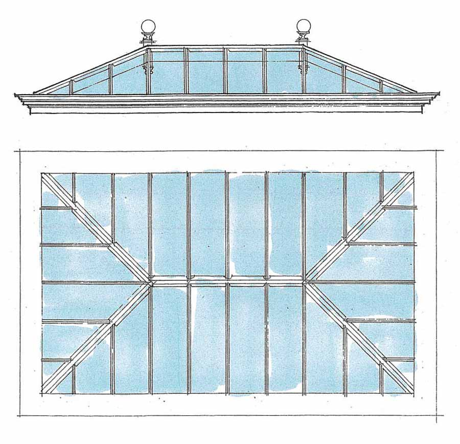 Hand drawing of conservatory roof