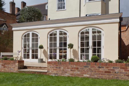 Light filled kitchen and dining Orangery on a listed Bedfordshire townhouse