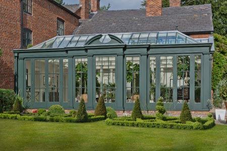 Georgian orangery in Cheshire is designed with broken segmental pediment