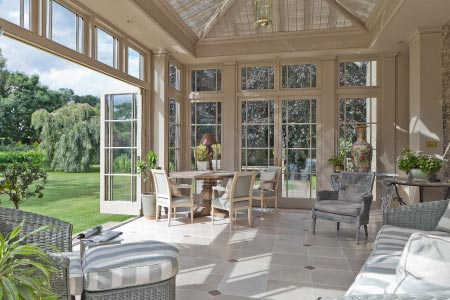 Elegant orangery with folding doors on a Norfolk Georgian manor house