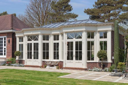 Orangery extension with solid lead roof provides a bright and spacious living room in South London