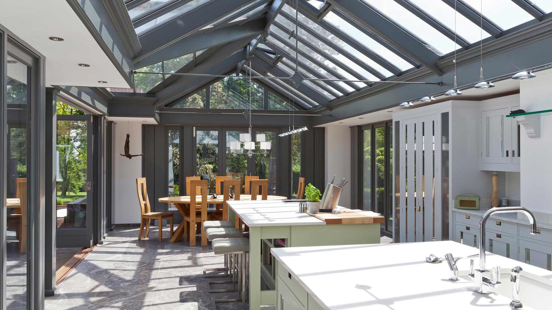 A modern kitchen conservatory provides contrast on this period home