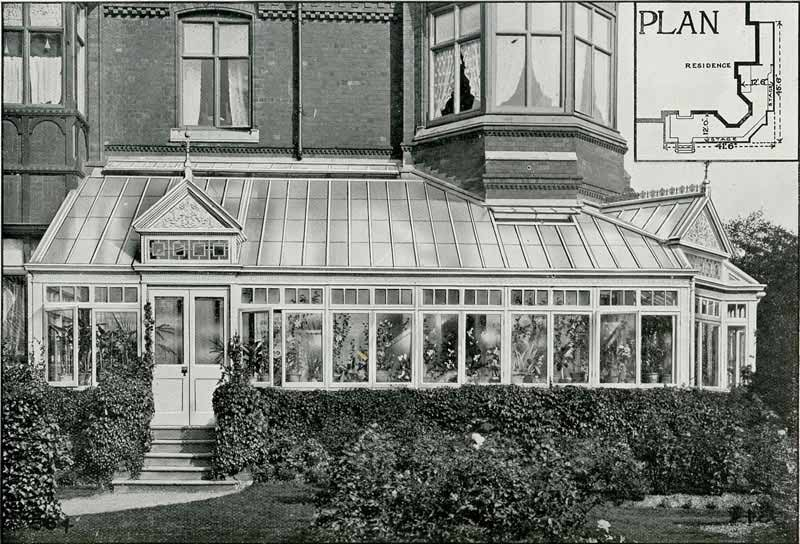 Example of Conservatory with fully glazed roof