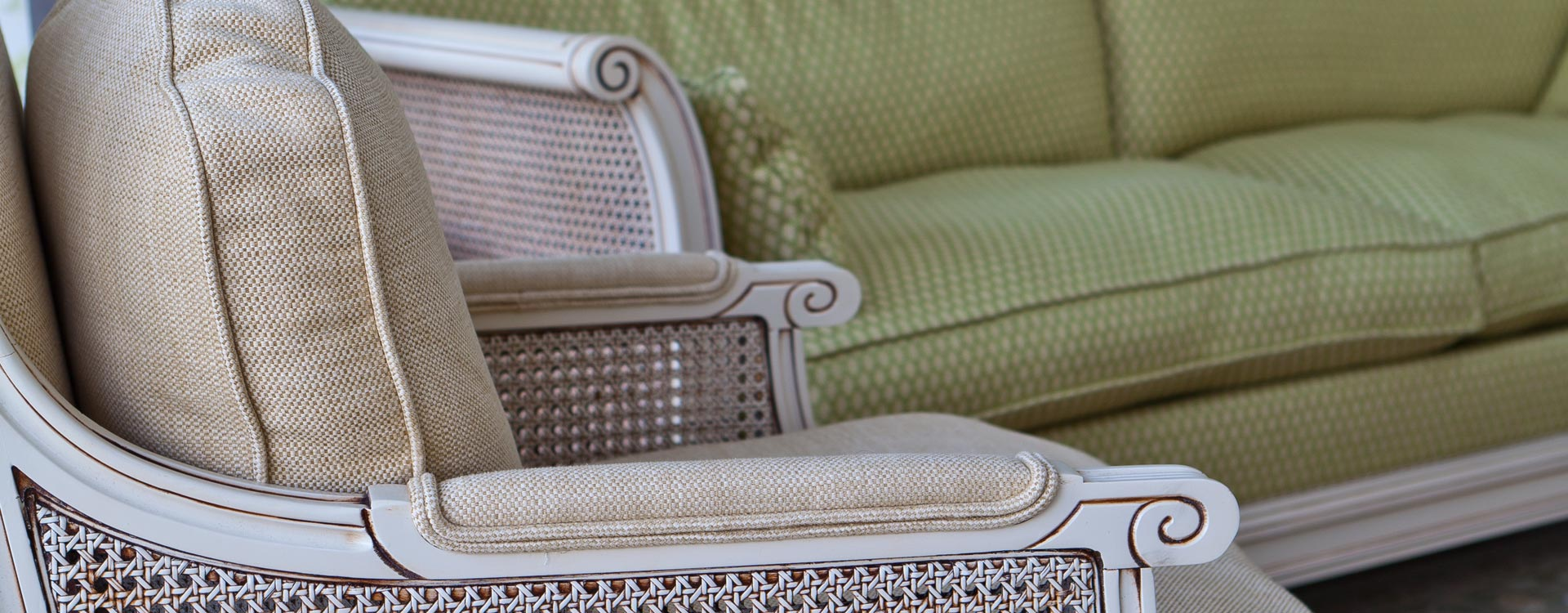Close up detail view of a conservatory chair