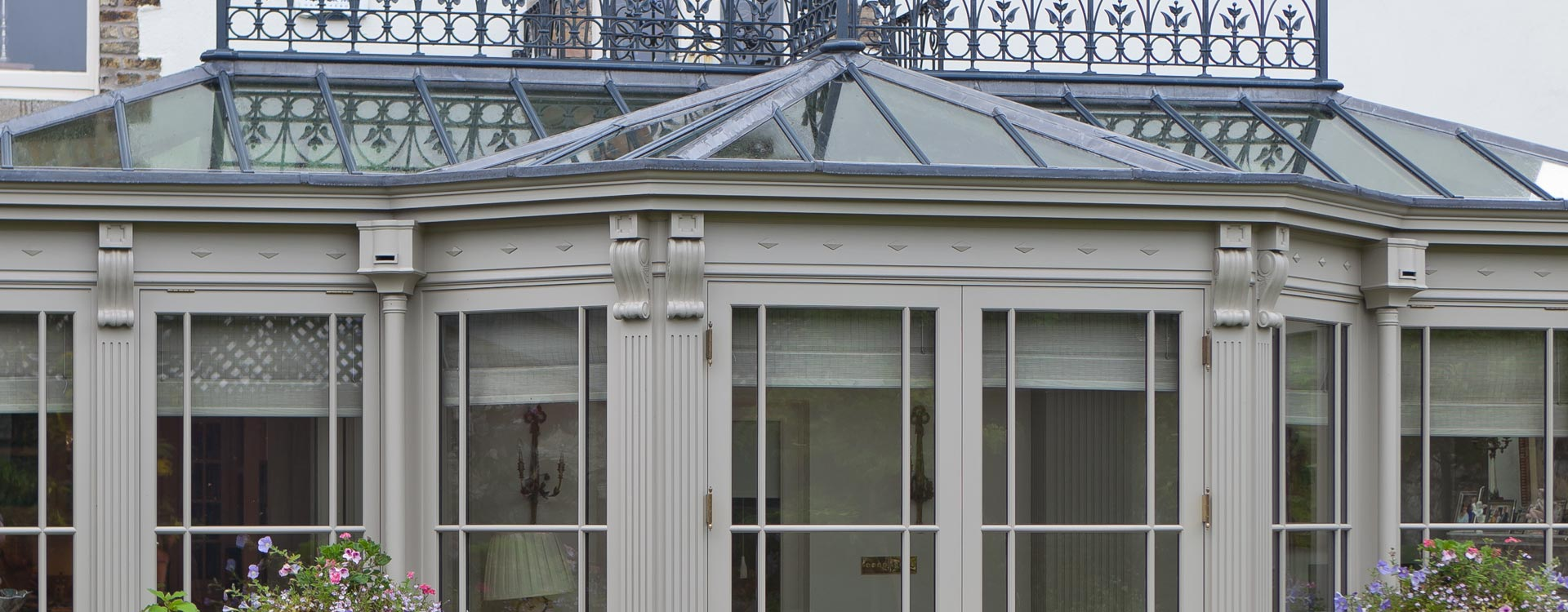 Elaborate joinery on a conservatory