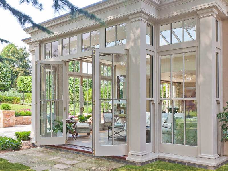 exterior view of an orangery with full height panels