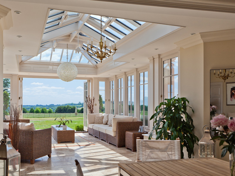 Open conservatory interior with wonderful view